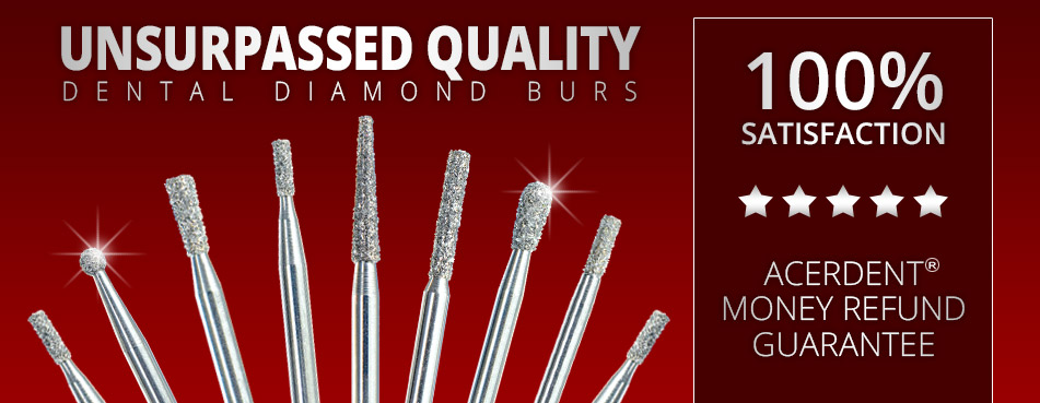 Selection of high quality diamond dental burs.