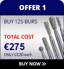 Diamond burs special offer, buy 100 burs get 100 free.