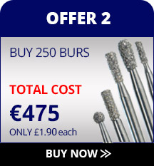 Dental burs special offer, buy 200 burs get 250 free.