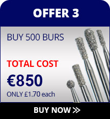 Diamond dental burs for under £1 per bur, get 600 free special offer.